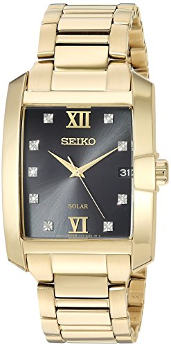 Seiko Men's Solar Diamond Japanese-Quartz Watch with Two-Tone-Stainless-Steel Strap, 20 (Model: ()