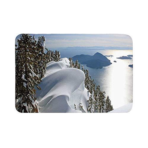 C COABALLA Winter Durable Door Mat,Pacific Ocean Meets The Mountains Vancouver British Columbia Canada Wilderness Scenery Decorative for Living Room,17.7