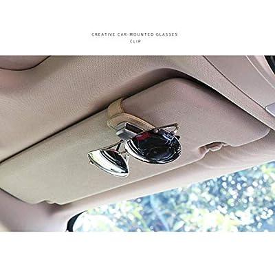 AUXMART Car Visor Sunglasses Leather Holder, Sunglasses Clip Suitable for All Models, Beige: Automotive