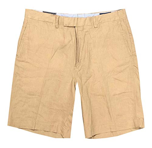 "Polo Ralph Lauren Mens Classic Fit Flat-Front 9"" Linen Shorts (38, Khaki)"