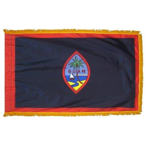 Guam Indoor Outdoor Parade Color Guard Dyed Nylon Flag Pole Hem Fringe 3' X 5' (Guam Guard)