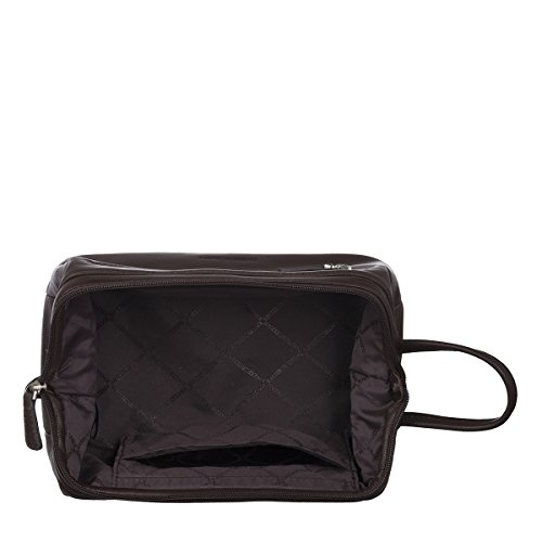 EnzoDesign Brown Cowhide Leather Toiletry Bag by EnzoDesign
