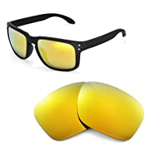 Walleva Replacement Lenses for Oakley Holbrook Sunglasses -Multiple Options (24K Gold Mirror Coated - Polarized)