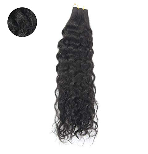 (You Shine Seamless Remy Hair Extensions 18Inch Natural Wavy 50g Per Package Double Sided Tape Hair Extensions Natural Black Color Human Hair Tape Extensions )