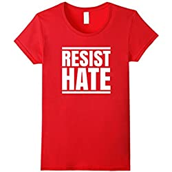 Womens Resist Hate Political Protest Anti Racism Equality T-Shirt Small Red