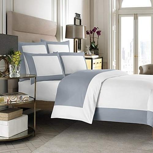 Wamsutta Hotel MICRO COTTON Reversible Duvet Cover (Full-Queen, White/Blue) COMIN18JU059939