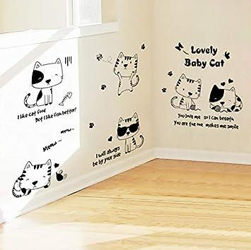 ... gatos del bebé jugando pegatinas de pared para niños habitación decoración del hogar animales arte mural diy pvc gatito calcomanía Poster: Amazon.es: ...