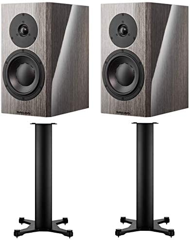 Dynaudio Special 40 Bookshelf Speakers Grey Birch Pair with Stand 20 Stands Pair