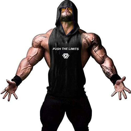 Gash Hao Gym Hoodie Men Bodybuilding Stringer Tank Top Muscle Sleeveless Shirt