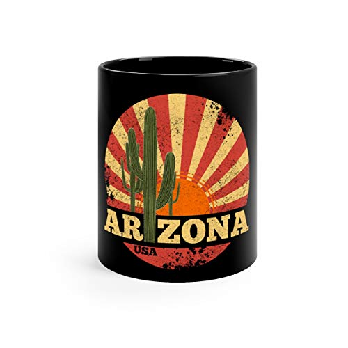 Arizona Vintage 1980s Style Funny For Men Coffee Mug Ceramic Cups 11oz Black -