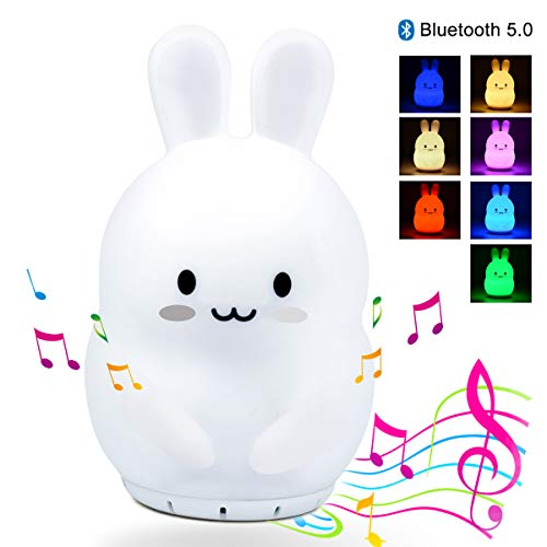 Kids Night Light with Bluetooth Speaker, LED Cute Animal Rabbit Nightlight, Portable Rechargeable Multi-Color Changing Muscial Table Lamp, Safety ABS Silicone Material Baby Girls Toys