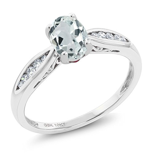 10K White Gold 0.79 Ct Oval Sky Blue Aquamarine and Diamond Engagement Ring (Available 5,6,7,8,9)