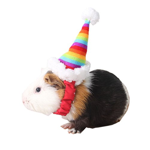 Guinea Pig Costumes For Christmas (BBEART Hamsters Christmas Hat, Dog Santa Hat Cat Puppy Hat Holiday Costume Christmas Pet Accessory (S, Pet Rainbow Hat))