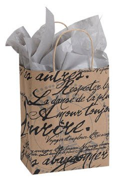 Bulk Paris French Script Gift Shopping Bags [25ct]