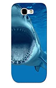 Ibromn-4051-ucuxhkj Awesome Shark Fish Great Whiteteeth Underwater Blue Ocean Flip Case With Fashion Design For Galaxy Note 2 As New Year's Day's Gift