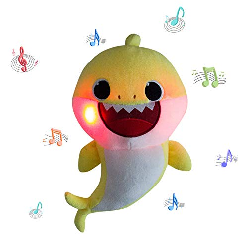 (ZIRI Music Light Baby Shark Plush Doll Sound Soft Baby Cartoon Shark Singing English Song Stuffed Plush Toys for Kids Children Gift (Yellow))