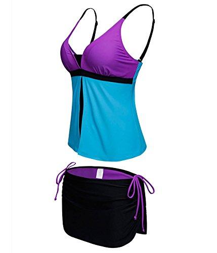Choose Women Cuello en V de dos piezas colorblock tankini pantalones de traje de baño Morado