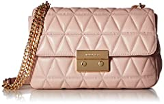 A glamorous MICHAEL Michael Kors shoulder bag in soft, quilted leather. A high-shine push-lock secures the top flap. Slim back pocket. Lined, 3-pocket interior. The chain shoulder strap can be worn long or doubled. Dust bag included.
