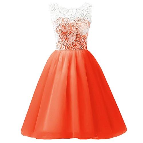 IBTOM CASTLE Big Girls' Chiffon Princess Juniors Bridesmaid Lace Summer Wedding Gown Party Flower Dress Orange 5-6 Years