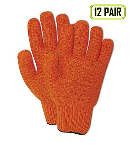 MAGID 5930CCXL MultiMaster Criss-Cross Coated Reversible Machine Knit Gloves, X-Large, Orange (12 Pair)