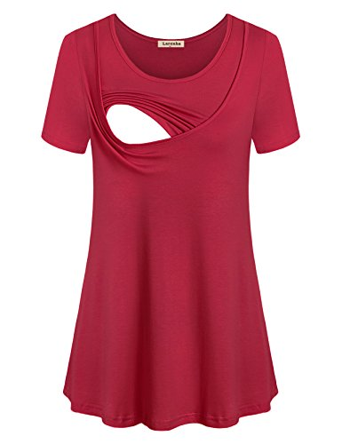 Double Knit A-line - Larenba Summer Nursing Shirts, Women Short Sleeve Nursing Tunic Top Pull Down Breastfeeding Top Breathable Cotton Comfy Scoop Neck A Line Tunic Double Layers(Wine Red,Large)