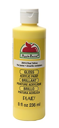 Exterior Acrylic - Apple Barrel Gloss Acrylic Paint in Assorted Colors (8 oz), J20414 Gloss Real Yellow