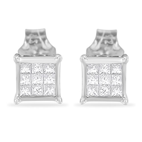 Sterling Silver Princess Cut Diamond Square Stud Earrings (.3 cttw, H-I Color, I1-I2 Clarity)
