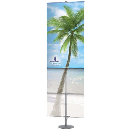 Adjustable Classic Banner Stand - Satin Silver by KegWorks