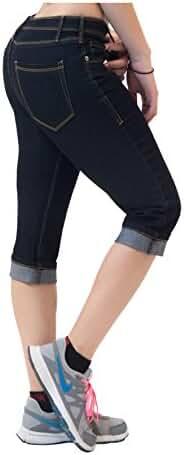 HyBrid & Company Women's Perfectly Shaping Stretchy Denim Capri