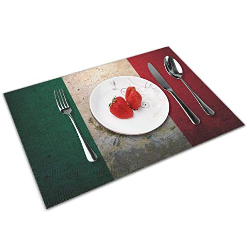 Coolfun Mexican Flag Wallpaper Themed Print Pattern 4 Piece Set of Placemats Pc Party Kitchen Dining Room Home Table Place Mat Patio Holidays Decorations Decor Ornament]()