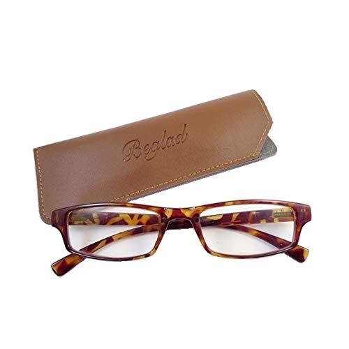 BEGLAD (《비구랏도》) 시니어 글래스 안경 돋보기  세련된 케이스 첨부 BGT1009DBR 심플한 디자인에 스타일리시 6색 +1.0~+3.0 (데미 브라운 +1.5)