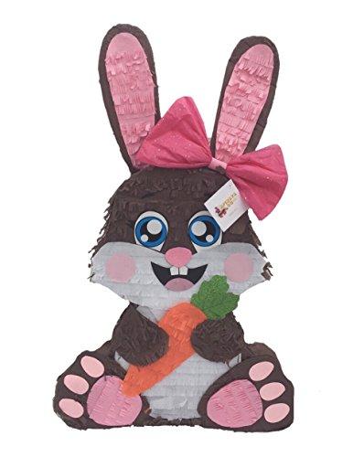 APINATA4U Brown Bunny with Carrot and Pink Bow Pinata]()