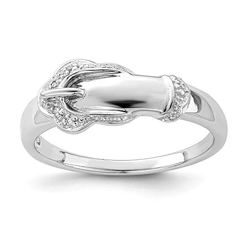 Sterling Silver Diamond Buckle Ring - 925 Sterling Silver Diamond Buckle Band Ring Size 6.00 Fine Jewelry Gifts For Women For Her