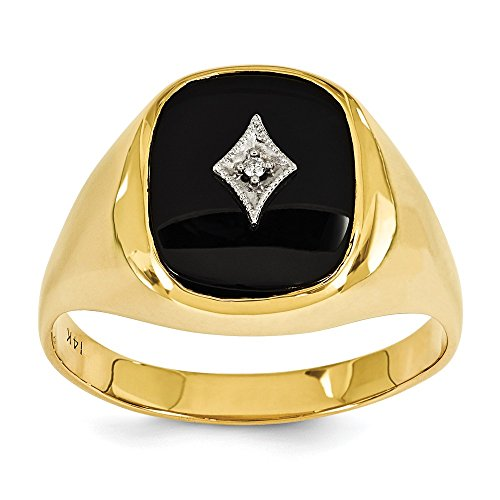 14k Yellow Gold H-I SI2 Onyx and Diamond men's ring.