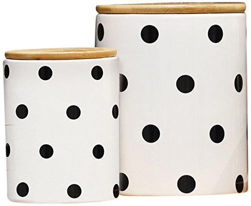 Urban Trends 50923 Ceramic Cylinder 36 oz/28 oz Canister with Bamboo Lid/Printed Polka Dot Lattice Design Body Gloss Finish (Set of 2), White, 2 Piece from Urban Trends
