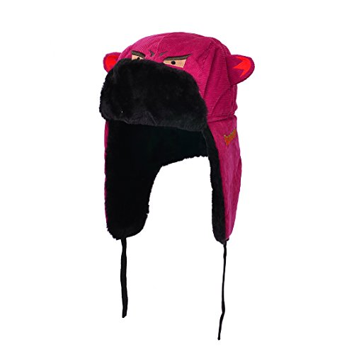 Huan Xun Hot Pink Shark Mouth Teeth Bomber Hat with Double Brim