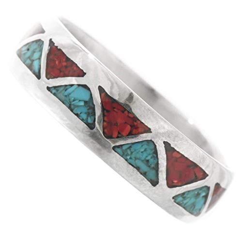 Inlaid Silver Turquoise Coral Navajo Ring Wedding Band Style for Men or Women 0083