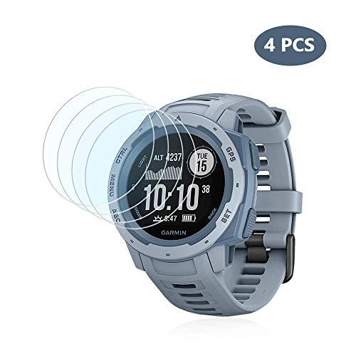 (4 PCS) Garmin Instinct Screen Protector, HLH 9H Hardness Anti - Scratch Tempered Glass Screen Protector for Garmin Instinct Anti - Bubble Film