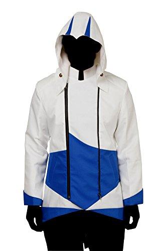 Cos2be Hoodie Jacket Coat (White&Blue,Men-M) (Assassin's Creed Uniform)