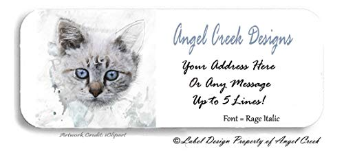 60 Bright Blue Eyed Kitten Personalized Return Address Labels