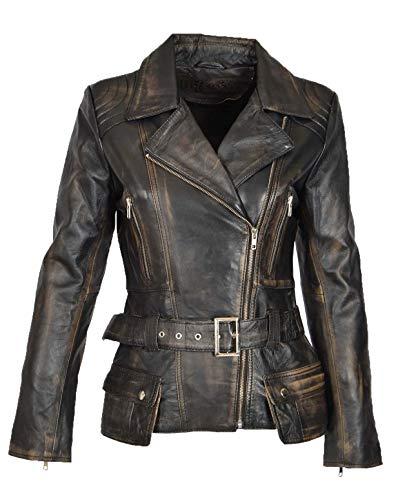 Womens Biker Jacket Black Leather Slim Fit Fashion Designer Hip Length Coat Coco (Medium)