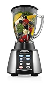 Oster Reverse Crush Counterforms Blender, with 6-Cup Glass Jar, 7-Speed Settings and Brushed Stainless Steel/Black Finish