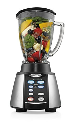 Oster Reverse Crush Counterforms Blender, with 6-Cup Glass Jar, 7-Speed Settings and Brushed Stainless Steel/Black Finish -