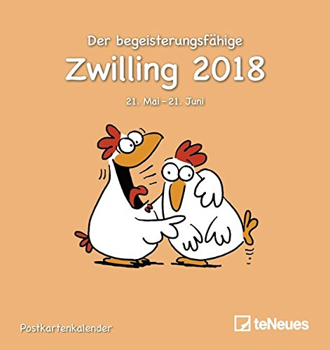 Sternzeichen Zwilling 2018 - Postkartenkalender, Sternzeichenkalender, Horoskop, Astro - 16 x 17 cm