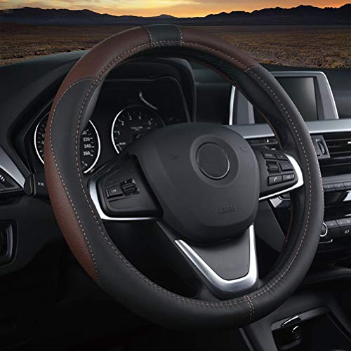 Classic Car Hubcaps - Mayco Bell Classic Car Steering Wheel Cover Four Sections Medium 15 Inches Fit For Mostly Cars Black Brown