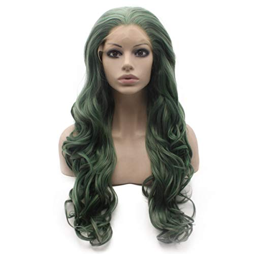 (Mxangel Long Wavy Dark Green Half Hand Tied Swiss Lace Front Party Wig)