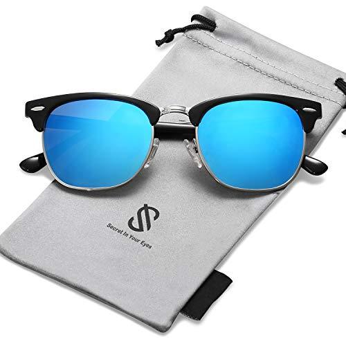 SOJOS Semi Rimless Polarized Sunglasses Half Horn Rimmed Glasses SJ5018 with Black Frame/Blue Mirrored Polarized ()