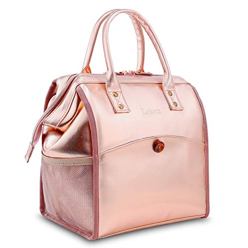 (CoolBELL Lunch Bags For Women Lunch Tote Water-Resistant Cooler Bag Leak Proof Lunch Box Insulated Lunch Holder With Wide Opening for Women/Men/Office/School (Rose Gold))