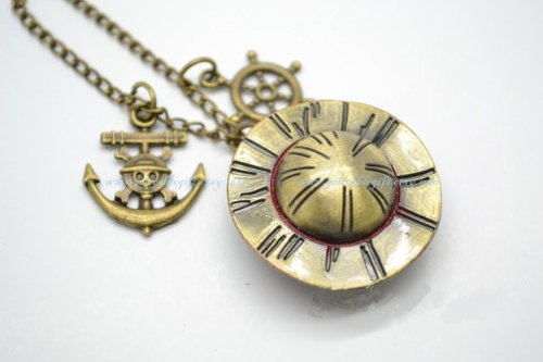 Anime One Piece Pocket Watch Necklace,luffy's Hat and One Piece Anchor and Wheel Pendant Locket Watch Necklace Nwhz04 (One Piece Watch Pocket)