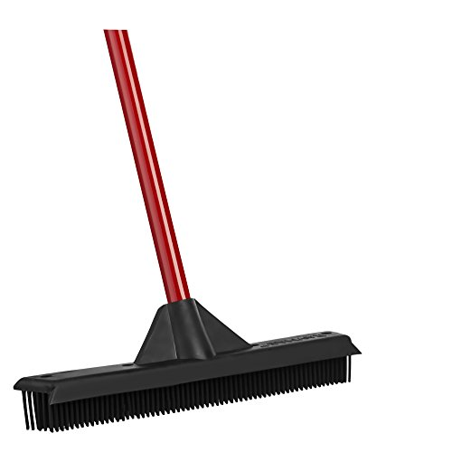 RAVMAG Rubber Broom & Squeegee - Design, Natural Rubber Bristles. for Pet & Human Hair - for Indoor & Outdoor Use. Cleans Carpets, Hardwood Floors, Decks & Windows. Water Resistant.